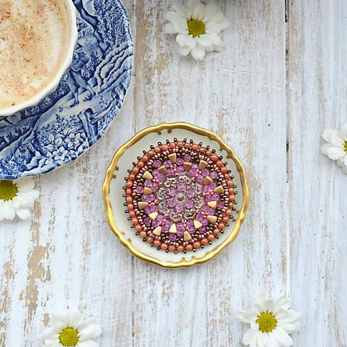 Pink Mandala - vyšívaná brož
