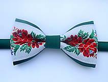 Doplnky - pánsky motýlik FOLK tmavo zelený - 9846550_