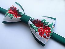 Doplnky - pánsky motýlik FOLK tmavo zelený - 9846551_