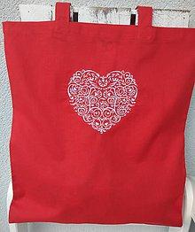 Nákupné tašky - Moja srdcovka...bavlnená taška (Červená) - 9844772_