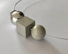 Náhrdelníky - Betónový náhrdelník - Silver point (L) - 9845634_
