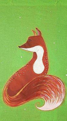 Nákupné tašky - Plátená maľovaná taška - Zvedavá líška - 9845865_