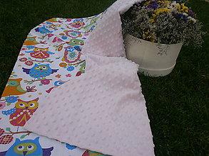 Textil - Jemná ružová minky so sovičkami - 9846432_