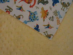 Textil - Žltá minky DINO - 9846443_