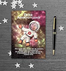 Papiernictvo - Školský zošit s vlastnou fotografiou a menom - kozmonaut (noty) - 9845385_