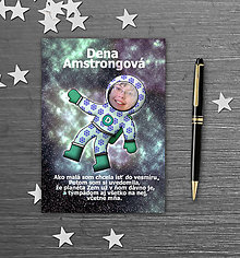 Papiernictvo - Školský zošit s vlastnou fotografiou a menom - kozmonaut (snehové vločky) - 9845393_