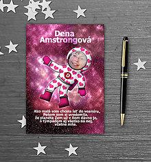 Papiernictvo - Školský zošit s vlastnou fotografiou a menom - kozmonaut (srdiečka) - 9845397_