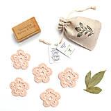 Úžitkový textil - BIO Odličovacie kvetinky (púdrovoružové) 5 ks + vrecko (100% biobavlna) - 9850267_