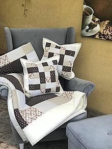 Úžitkový textil - prehoz smotanovo čokoládová kombinácia - 9850865_