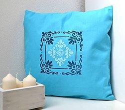 Úžitkový textil - Vankúš-tyrkysový s ornamentom - 9848707_