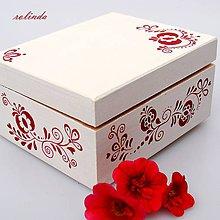 Krabičky - Malovaná šperkovnice - folklór v červené - 9848066_