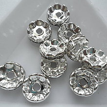 Korálky - Šaton.rondelka-1ks (10mm-wave-strieb/krystal) - 9847958_