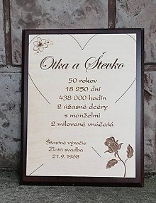 Dekorácie - tabuľka k zlatej svadbe - 9850426_