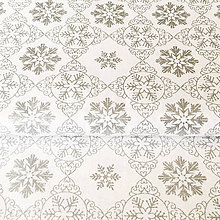 Textil - strieborné vločky, 100 % bavlna so striebrotlačou - 9847749_