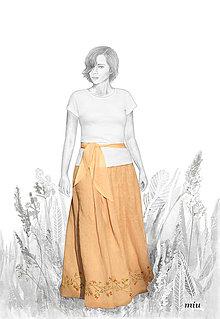 Sukne - Ľanová maľovaná sukňa - 9848026_