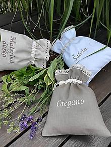 Úžitkový textil - Ľanové vrecúška na bylinky, huby, ovocie.... - 9850216_