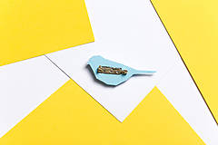 Odznaky/Brošne - Brošňa sýkorka modrá - 9847614_