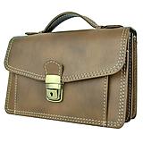 Tašky - Luxusná kožená etuja, viacúčelové púzdro, ručne tamponovaná, svetlo hnedá - 9849592_