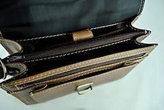 Tašky - Luxusná kožená etuja, viacúčelové púzdro, ručne tamponovaná, svetlo hnedá - 9849596_