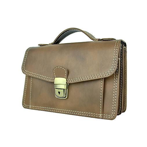 Luxusná kožená etuja, viacúčelové púzdro, ručne tamponovaná, svetlo hnedá