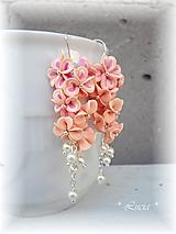 Náušnice - Marhuľkovie kvetinkové náušnice - 9850403_