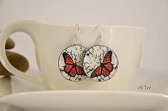 Náušnice - Motýľ monarch - náušnice M - 9850861_
