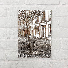 Obrazy - Bicycle under the tree - gravírovaný obraz - 9848938_