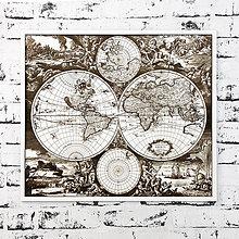 Obrazy - Mapa sveta 1689 - detailne gravírovaný obraz - 9849129_
