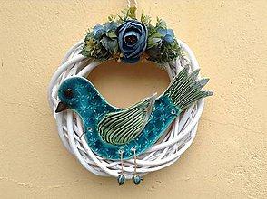Dekorácie - Vtáčik vo venci - 9850890_