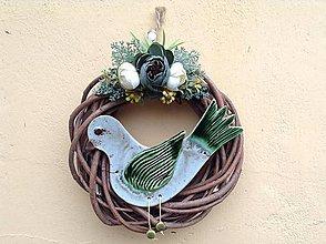 Dekorácie - Vtáčik vo venci - 9850906_