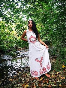 Šaty - Biele BOHO šaty s maľovaným ornamentom - 9848776_