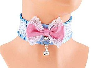 Náhrdelníky - Obojok čipkový, lolita, kawaii, gothic pastel, kitten play collar, BDSM, DDLG,pet play collar  0P74 - 9854283_