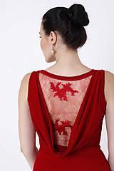 Šaty - Šaty vínovo červené s čipkou - 9851106_