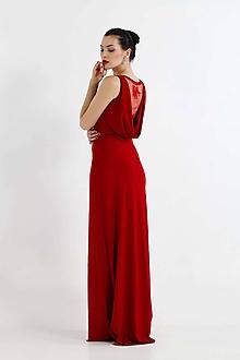 Šaty - Šaty vínovo červené s čipkou - 9851114_