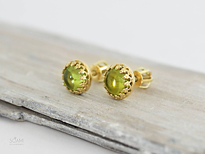 Náušnice - CERTIFIKÁT 14k zlaté náušnice s prírodným olivínom, peridotom - 9852294_