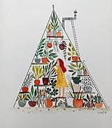 Obrazy - Dievča v skleníku ilustrácia / originál maľba - 9854268_
