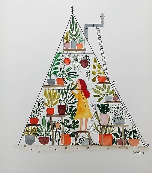 Dievča v skleníku ilustrácia / originál maľba