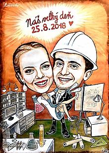 Obrazy - ♥Svadobná karikatúrka - zdravotná laborantka + stavby vedúci ♥ - 9851830_