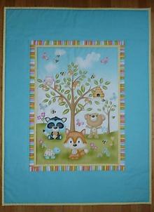 Textil - Detská deka ZVIERATKÁ POD STROMOM  (rozmer cca 150x100cm) - 9854449_