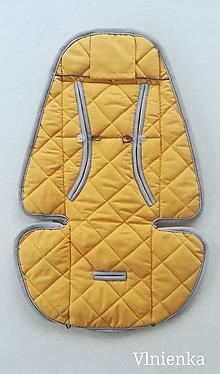 Textil - Podložka do kočíka CYBEX Priam lux proti poteniu 100 %merino top super wash Horčicová - 9851250_