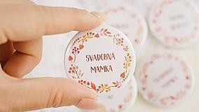 Darčeky pre svadobčanov - Svadobný odznak, svadobná brošňa, button (odznak 44 mm - personalizovaný) - 9852861_