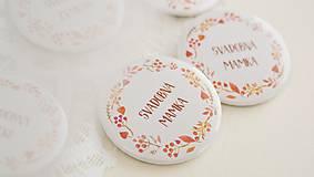 Darčeky pre svadobčanov - Svadobný odznak, svadobná brošňa, button (odznak 44 mm - personalizovaný) - 9852873_