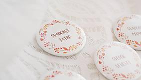 Darčeky pre svadobčanov - Svadobný odznak, svadobná brošňa, button (odznak 44 mm - personalizovaný) - 9852875_