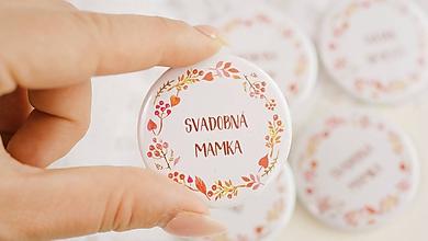 Darčeky pre svadobčanov - Svadobný odznak, svadobná brošňa, button - 9852861_