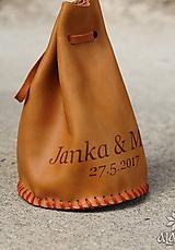 Peňaženky - Kožený mešec na 150 mincí s menami (Hnedá hladká koža) - 9853699_