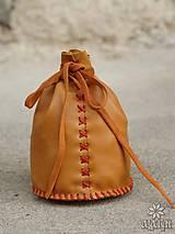Peňaženky - Veľký kožený mešec na 300 mincí s menami - 9853714_