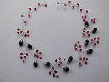 ozdoba do vlasov - venček, čelenka, girlanda - červená + čierna