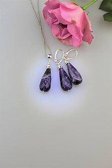 Sady šperkov - ametyst náušnice a prívesok v striebre - 9853660_