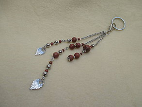 Kľúčenky - Polodrahokam-zlatý aventurín-chirurgická oceľ - šperková dekorácia - 9851223_