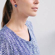 Náušnice - slzy čiarkaté ~ napichovačky (Modrá) - 9853588_